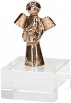 Bronzefigur auf Glassockel Engel mit Geschenk