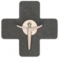 Schieferkreuz mit Korpus aus Feinmetall