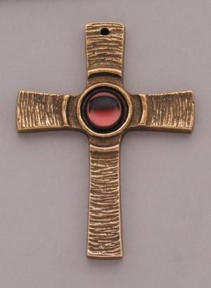 Kommunionkreuz - Bronzekreuz mit rotem Stein