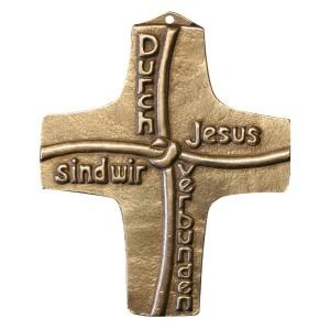 Kommunionkreuz - Bronzekreuz Durch Jesus sind wir verbunden