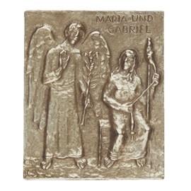 Plakette aus Bronze: Maria und Gabriel