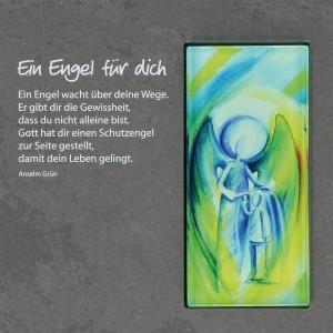 Schieferrelief mit Glaseinsatz Ein Engel für dich