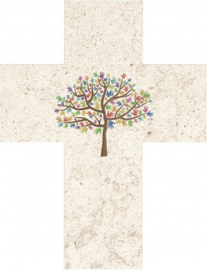 Natursteinkreuz Lebensbaum