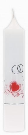 Hochzeitskerze mit Druckmotiv und aufgelegtem Wachsmotiv Rote Herzen mit Eheringen und Streifen in Silber