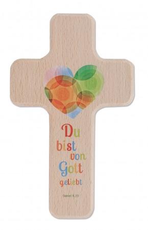 Kinderholzkreuz Du bist von Gott geliebt