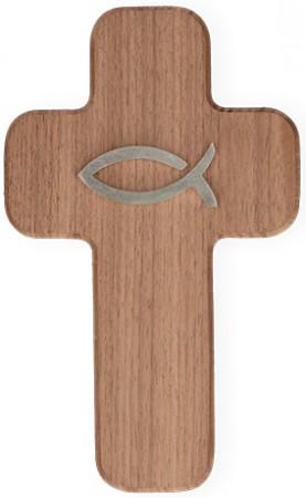Kreuz aus Nussbaumholz natur mit Fisch aus Edelstahl