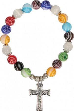 Kunststoff-Armband mit bunten Perlen mit Kreisen