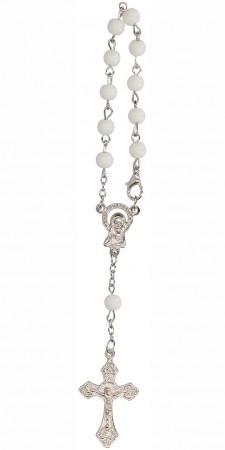 10er Rosenkranz mit weißen Glasperlen