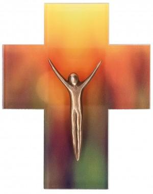 Acrylglas-Kreuz mit Korpus aus Bronze
