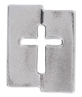 Kreuzplakette aus Neusilber