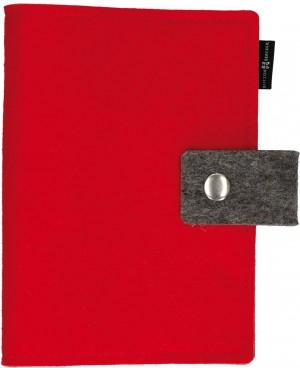 Gotteslob-Buchhülle aus rotem Wollfilz mit Druckknopf