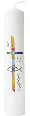 Taufkerze Regenbogenkreuz