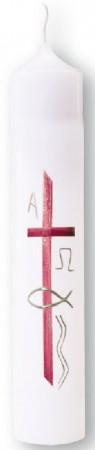 Taufkerze mit den Symbolen Kreuz, Fisch, Welle