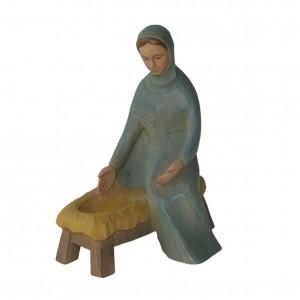 Krippenfigur Maria, sitzend, mit Barren