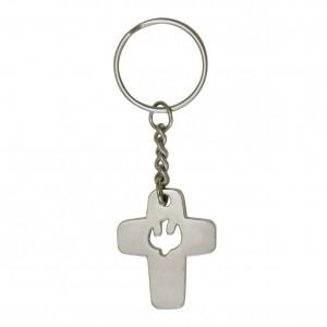Schlüsselanhänger Kreuz mit Taubensymbol
