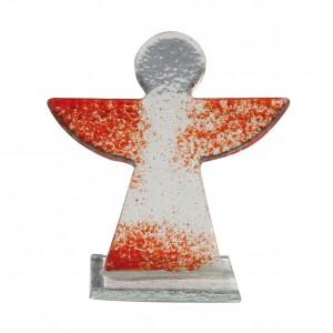 Glasengel, transparent mit roten Flügeln