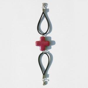 Schlaufenarmband mit Keramik-Kreuz