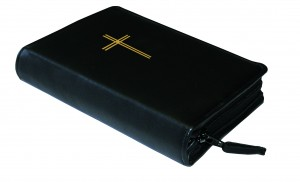 Gotteslobhülle Kunstleder mit Motivprägung schwarz - Goldfolienprägung Kreuz