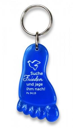 Schlüsselanhänger in Fußform aus Acryl mit der Jahreslosung 2019