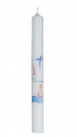 Taufkerze mit Symbolen Kreuz, Kirche, Wasser