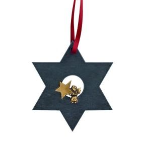 Dein Begleiter in der Weihnachtszeit - Schieferstern mit Bronzeengel