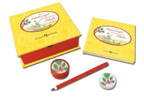 Mein Schutzengel geht mit mir zur Schule - Geschenkbox mit Buch, Stift, Radiergummi und Anspitzer