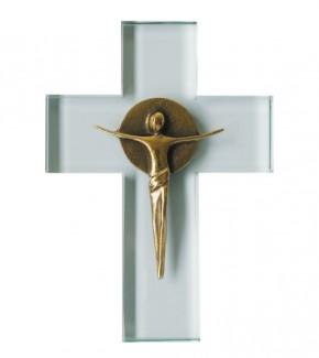 Glaskreuz mit poliertem Bronzecorpus