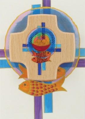 Holzkreuz-Karte Brot / Fische / Kreuze zur Erstkommunion