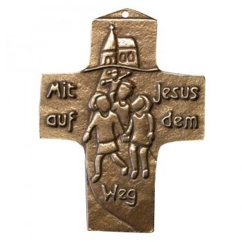 Kommunionkreuz - Bronzekreuz Mit Jesus auf dem Weg
