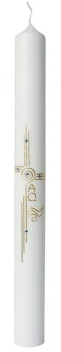 Kristall-Taufkerze mit Symbolen Taufe, Kreuz, Wellen