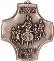 Kommunionkreuz aus Bronze Jesus segnet uns