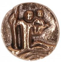 Plakette Christophorus Bronze 2,5 cm Ø