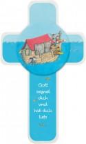 Kinderholzkreuz Arche Noah mit Holzapplikation