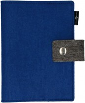 Gotteslob-Buchhülle aus königsblauem Wollfilz mit Druckknopf