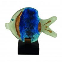 Fisch blau-gold mit Holzfuß
