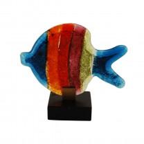 Fisch bunt mit Holzfuß