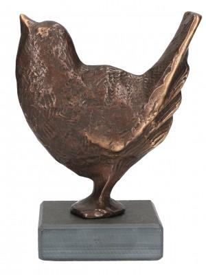 Bronzefigur Spatz auf Schiefersockel