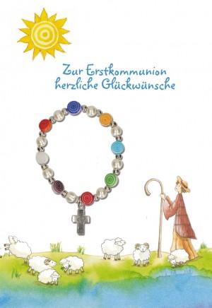 Glückwunschkarte mit Armband Zur Erstkommunion herzliche Glückwünsche