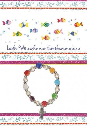 Glückwunschkarte mit Armband Liebe Wünsche zur Erstkommunion