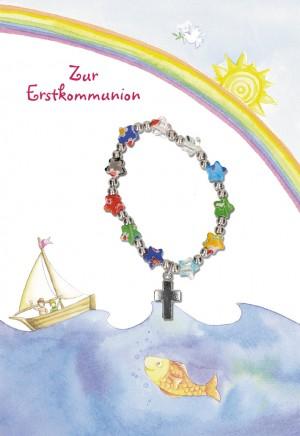 Glückwunschkarte mit Armband Zur Erstkommunion