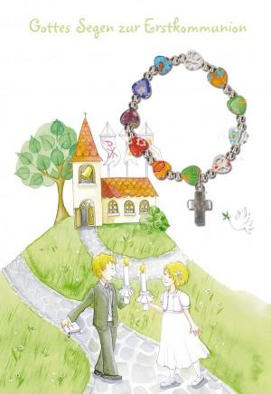 Glückwunschkarte mit Armband Gottes Segen zur Erstkommunion