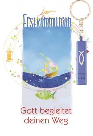 Glückwunschkarte zur Erstkommunion mit blauer Taschenlampe Gott begleitet deinen Weg