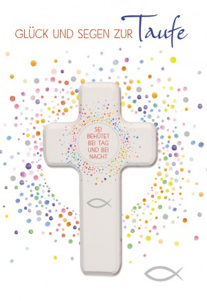 Glückwunschkarte mit Holzkreuz Glück und Segen zur Taufe