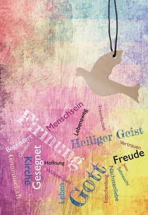 Glückwunschkarte mit Taube-Holzanhänger auf Textilband Firmung