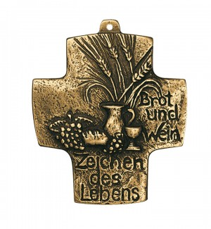 Kommunionkreuz - Bronzekreuz Brot und Wein - Zeichen des Lebens