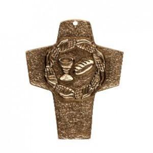 Kommunionkreuz - Bronzekreuz Brot und Wein