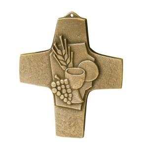 Erstkommunionkreuz Brot und Wein - Bronze