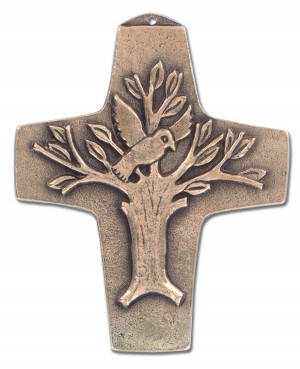 Kommunionkreuz Lebensbaum aus Bronze