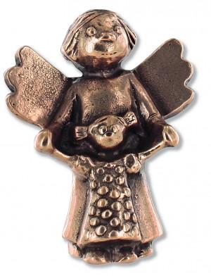Schutzengel mit Kind, aus Bronze