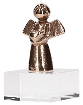 Bronzefigur Engel für dich mit Glasquader